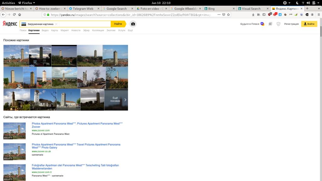 De resultaten van Yandex