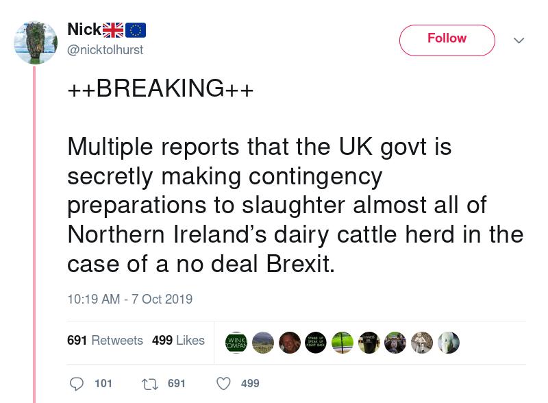 De tweet die zegt dat vee massaal wordt geslacht na de Brexit.